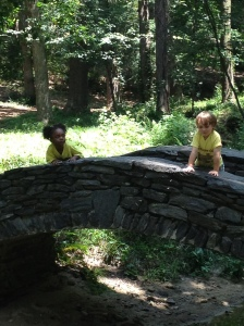 Preschool campers exploring their surroundings at Haverty Hills Preschool Camp at Garden Hills.